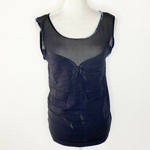 Wolford Size Large Top Mesh Sleeveless Bow Print